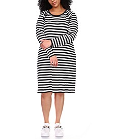 Plus Size Striped Lace-Up Shift Dress