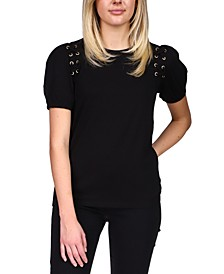 Lace-Up Grommet T-Shirt, Regular & Petite