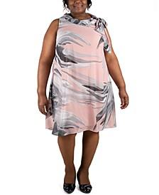 Plus Size Tie-Neck Trapeze Dress