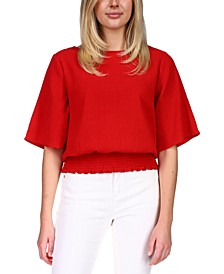 Petite Smocked Elbow-Sleeve Top