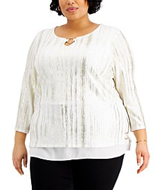 Plus Size Foiled Ribbed Tunic Top, Created for Macy's