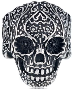 Men's Ornamental Skull Ring in Oxidized Stainless Steel