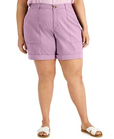 Plus Size Rolled-Cuff Shorts, Created for Macy's