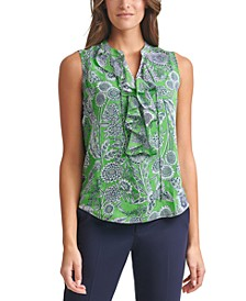 Printed Ruffled Sleeveless Top