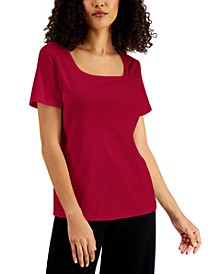 Solid Square-Neck Cotton Top, Created for Macy's