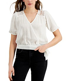 Juniors' Side-Tie Wrap Top With Lace Trim