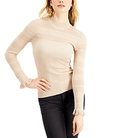Juniors' Pointelle Mock Neck Sweater