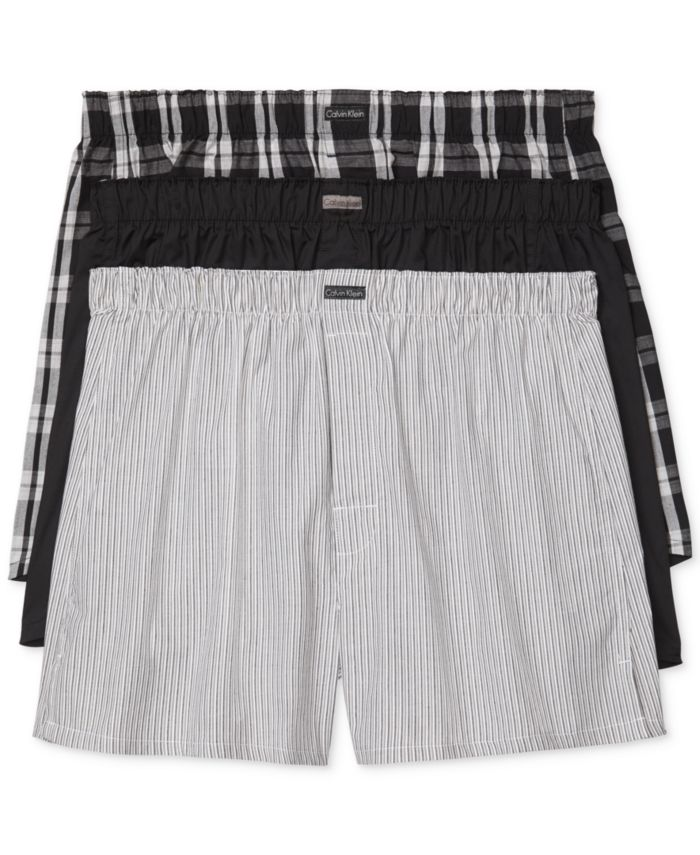 Calvin Klein Men's 3-Pack Woven Boxers & Reviews - Underwear & Socks - Men - Macy's