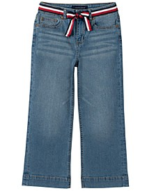 Big Girls Crop Wide Leg Denim with Global Stripe Sash