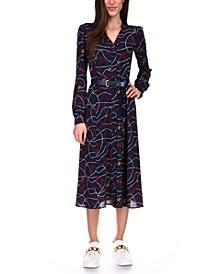 Logo-Print Belted Dress