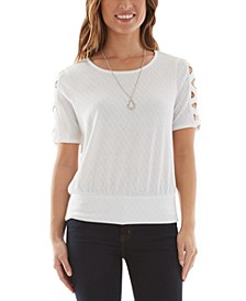 Juniors' Lattice Short Sleeve Top