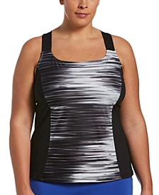 Plus Size Water Stripe V-Back Tankini Top