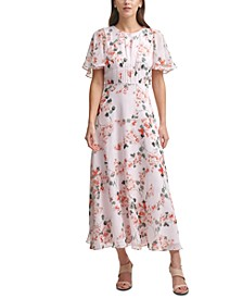 Floral-Print Chiffon Capelet-Detail Maxi Dress