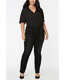 Women's Plus Size Marilyn Straight Jeans in Future Fit Denim with Zipper Detail