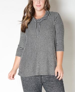 Women's Plus Size Stripe Cozy Top