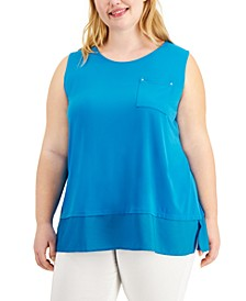 Plus Size Solid Pocket-Front Tank Top