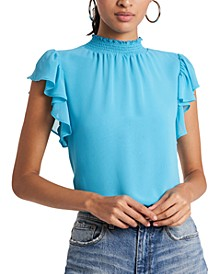 Flutter-Sleeve Solid Top
