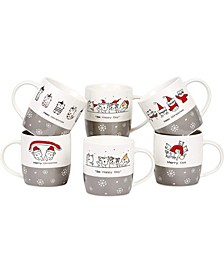 12 oz Christmas Cats Coffee Mugs, Set of 6