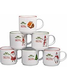 Large-Sized 14 oz Coffee Mug, Set of 6