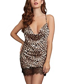 Women's Printed Silky Satin Bias-Cut Cowl Neck Chemise with Low Back