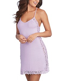 Women's Soft Knit Jersey Sleepwear Chemise with Scalloped Lace Trim and Side Slit
