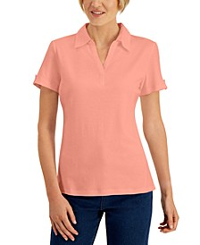 Petite Eyelet-Trim Johnny-Collar Top, Created for Macy's
