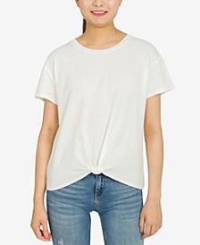 Juniors' Twist-Front Cotton T-Shirt