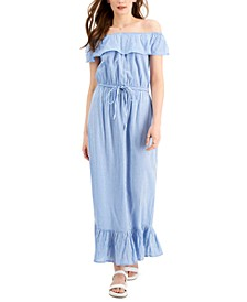Petite Printed Off-the-Shoulder Ruffle Maxi Dress, Created for Macy's