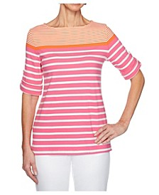 Women's Plus Size Knit Engineered Stripe Top