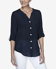 Women's Plus Size Woven Silky Gauze Top