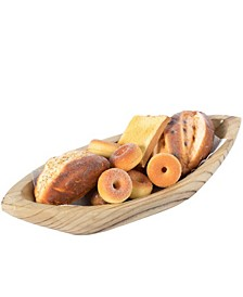 Wood Carved Boat Shaped Bowl Basket Rustic Display Tray
