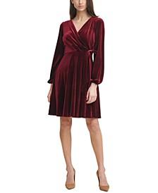 Velvet Side-Tie Shift Dress