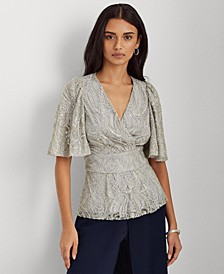 Sequined Elbow-Sleeve Top