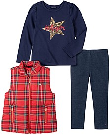 Toddler Girls Plaid Vest with Long Sleeve T-shirt and Faux Knit Denim Legging Set, 3 Pieces