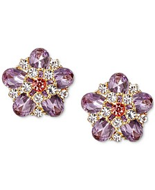 Gold-Tone Multi-Crystal Flower Stud Earrings, Created for Macy's