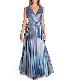 Tie-Belted Pleated Chiffon Gown