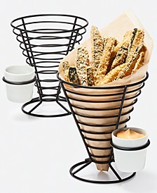 Mixed Materials Conical Fry Baskets with Dip Bowls, Set of 2, Created for Macy's