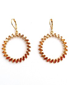 INC Gold-Tone Ombré Baguette-Crystal Drop Hoop Earrings, Created for Macy's