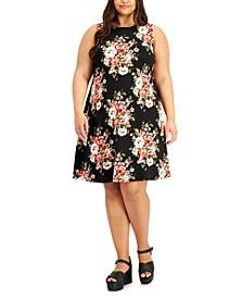Trendy Plus Size Floral-Print A-Line Dress