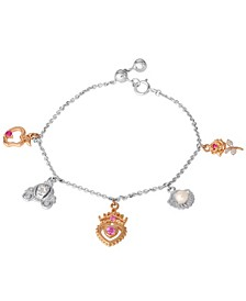 Princess Cultured Freshwater Pearl, Gemstone and Diamond Accent Charm Bracelet in Sterling Silver and 18k Rose Gold Over Silver