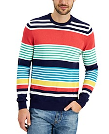 Men's Variegated Stripe Cotton Crew Neck Sweater, Created for Macy's