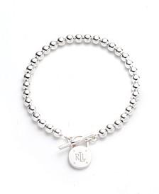 Polished Bead Toggle Bracelet in Sterling Silver