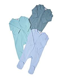 Baby Boy Long Sleeve Zip Romper, 3 Pack