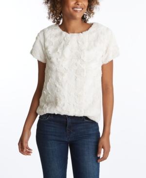 Women's Short Sleeve Sherpa Pullover Top