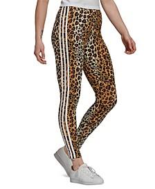 Women's Animal-Print 3 Stripes Full Length Leggings
