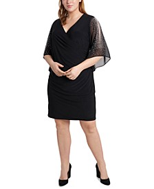Plus Size Beaded-Mesh Split-Sleeve Dress