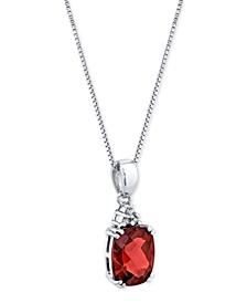 "Rhodolite Garnet (3-1/2 ct. t.w.) & Diamond Accent Oval 18"" Pendant Necklace in Sterling Silver"