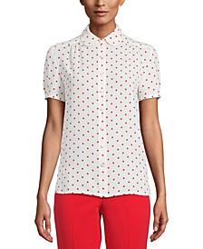 Dot-Print Short-Sleeve Blouse