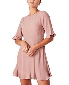 Women's Woven Thelma Retro 3/4 Sleeve Fit and Flare Shift Mini Dress