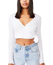 Women's Arlo Textured Wrap Long Sleeve Top